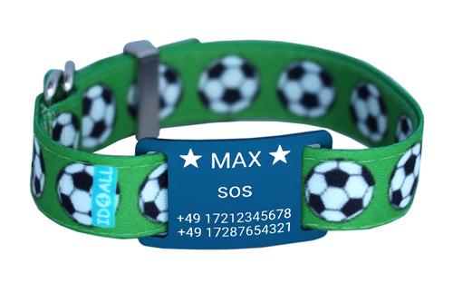 Fußball mit blauem Textschild