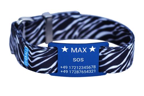 Zebra mit blauem Textschild